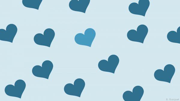 One blue heart is lighter.