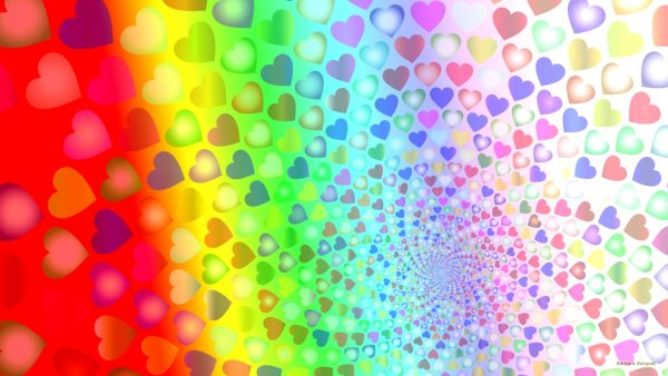 Colorful heart pattern wallpaper.