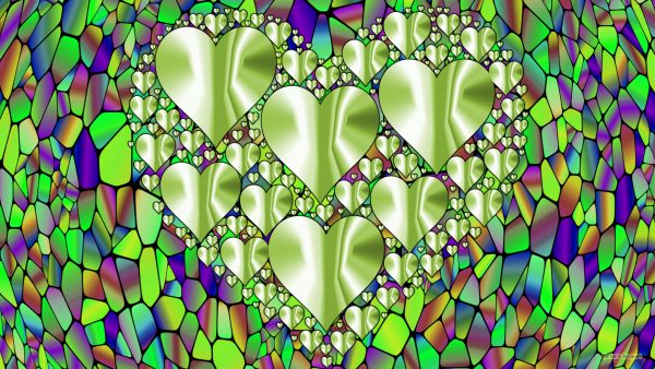 Colorful wallpaper with green hearts.