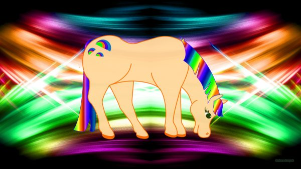 Colorful wallpaper with a rainbow horse.