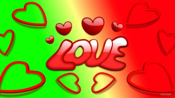 Green red love wallpaper with hearts and text.
