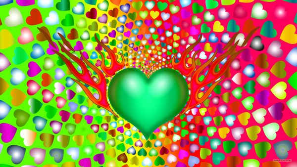Heart wallpaper with green heart with flames.