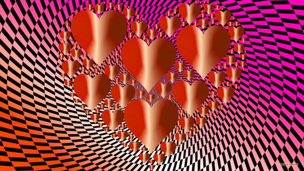 Orange pink love wallpaper with hearts.