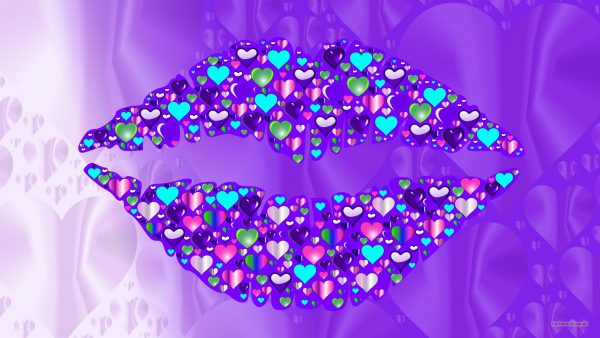 Purple wallpaper with lips and many hearts.