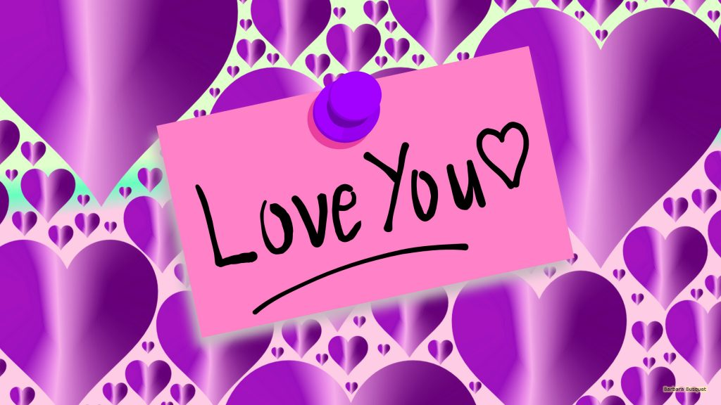"Purple wallpaper with a pink note with ""love You"" written on it."