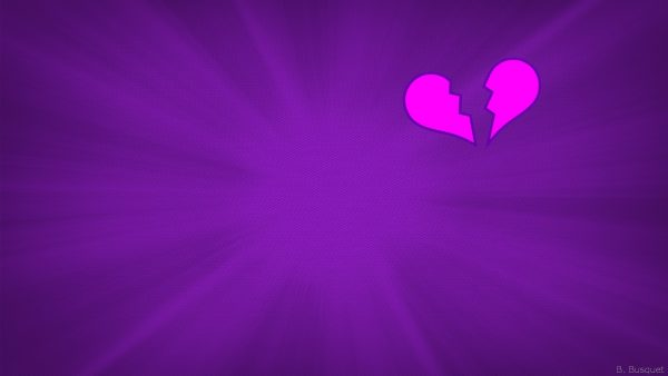 Purple wallpaper with broken heart