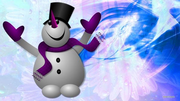 Purple winter wallpaper with a snowman.