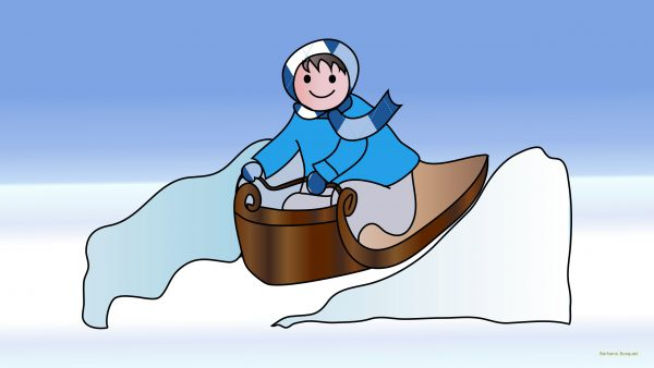 Winter wallpaper with boy on sleigh