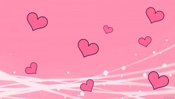 Pink love wallpaper with hearts and white lines