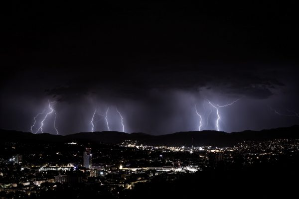 thunderstorm above city