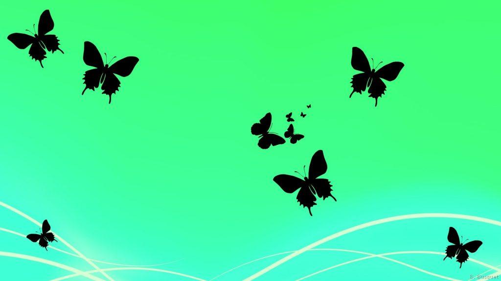 Green wallpaper with butterflies