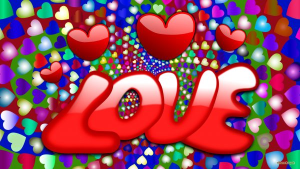 "Love wallpaper with the text ""Love"" in red, and many hearts."