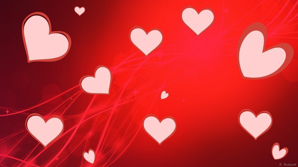 Red love wallpaper with pink hearts