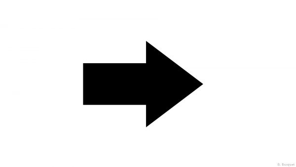 A black arrow pointing right.