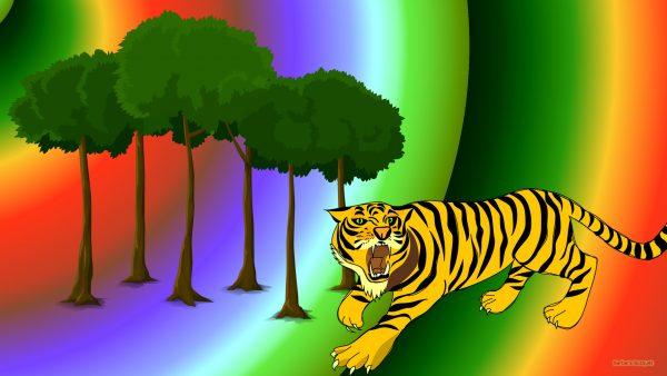 HD wallpaper tiger and trees