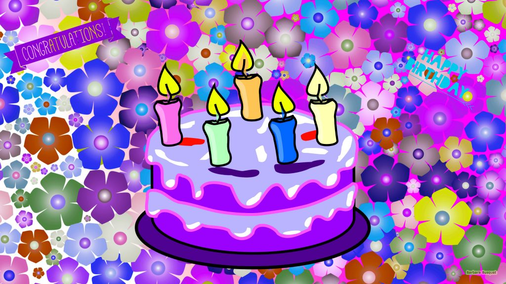 Purple birthday wallpaper with flowers and a cake with burning candles.