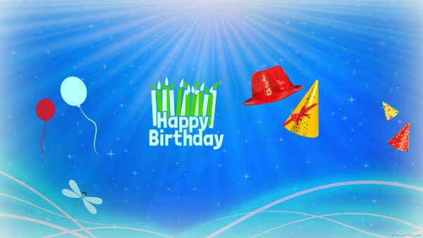 birthday wallpaper with text and balloons.