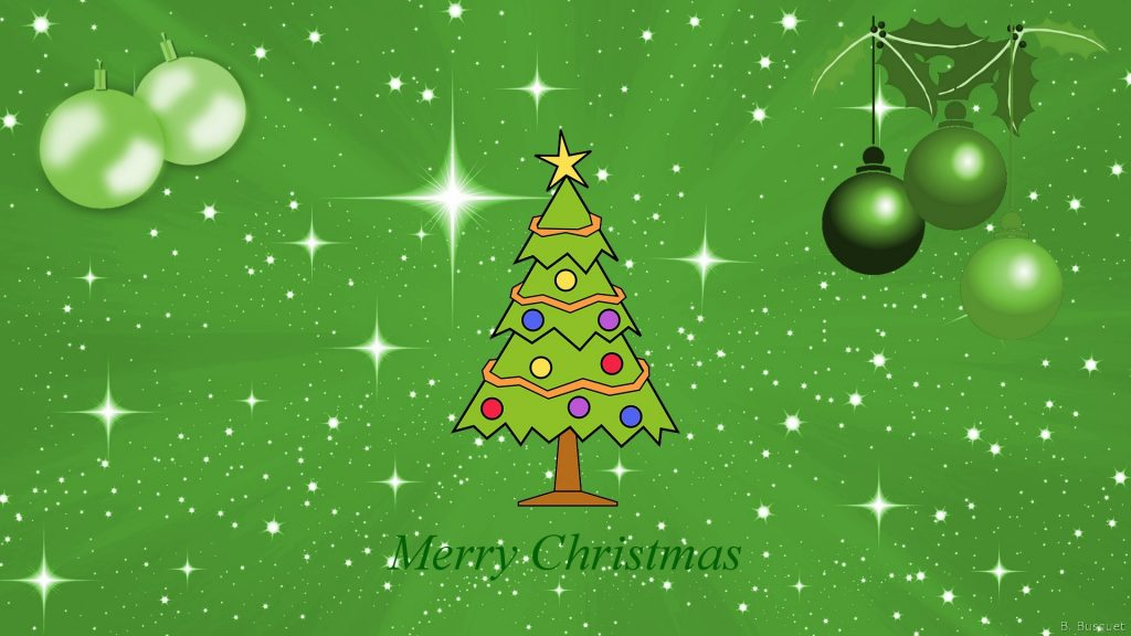 Green Christmas wallpaper with stars