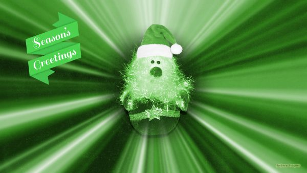 Green wallpaper with Santa