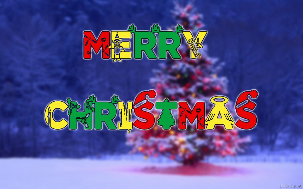 Merry Christmas wallpaper with snow