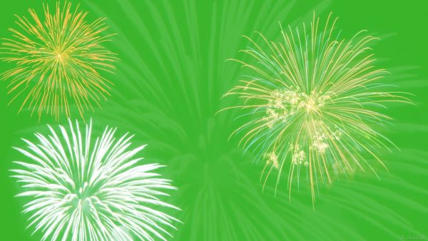 Green wallpaper with fireworks