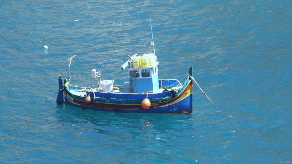Boat in blue water in Malta