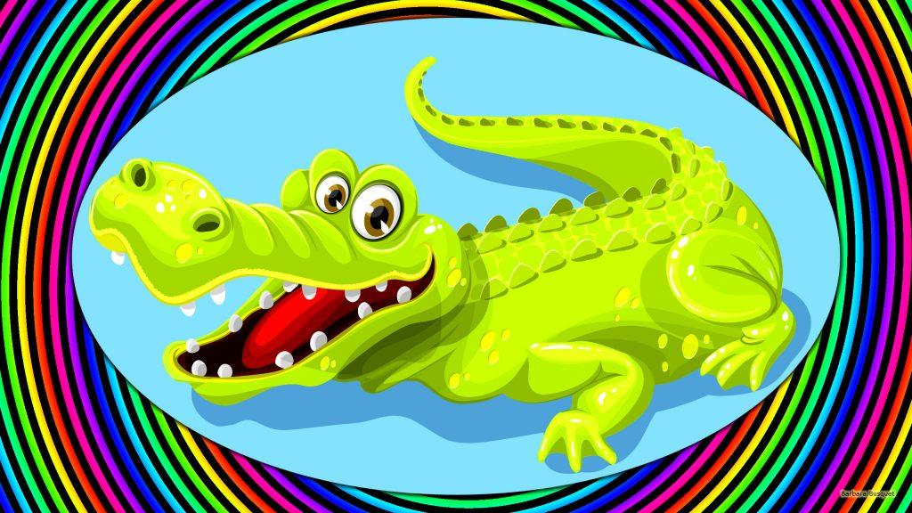 Colorful crocodile wallpaper.