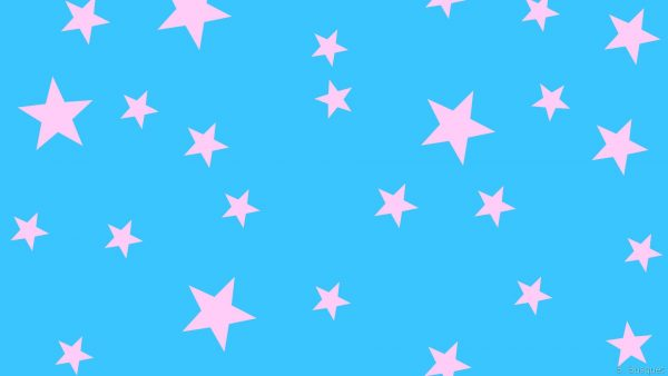 Light blue wallpaper with pink hearts