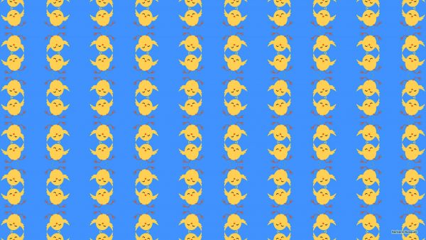 Blue Easter wallpaper with chicken pattern