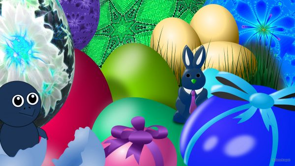 Easter wallpaper with bunny and chicken.