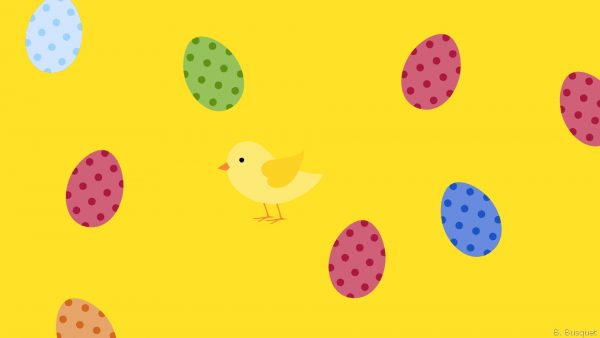 Easter wallpaper with eggs and chicken
