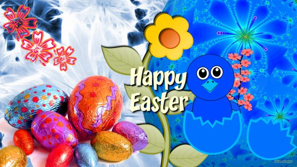 Easter wallpaper with text and eggs.
