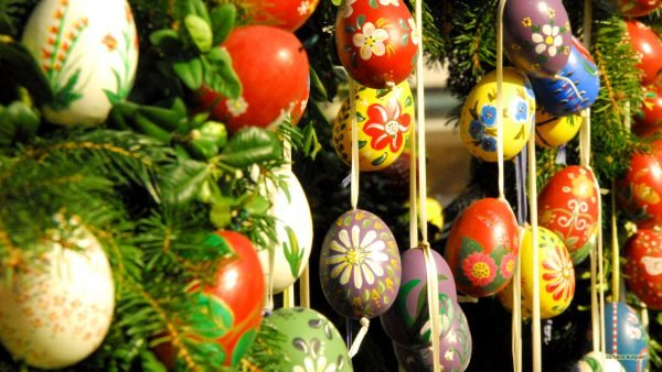 Easter eggs on ribbons.