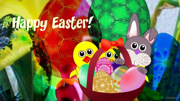 Wallpaper with basket and Easter eggs.