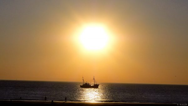 Wallpaper with fishing boat at sunset
