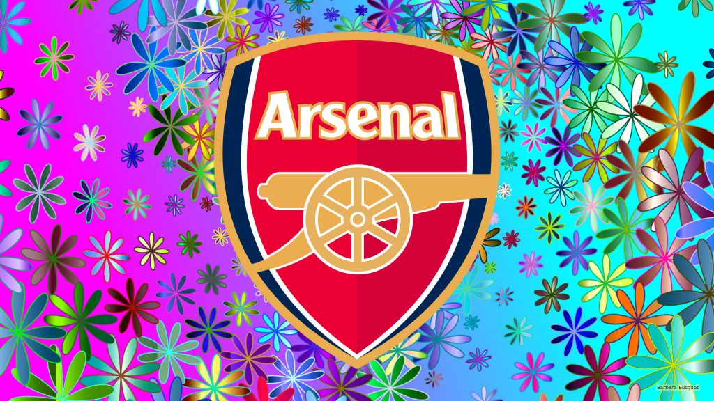Arsenal wallpaper with flowers and big logo.