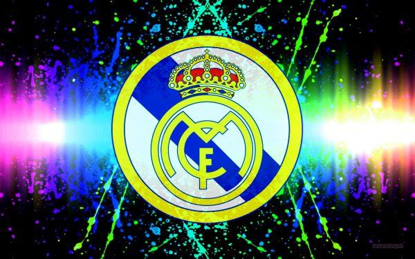 Colorful Real Madrid logo wallpaper.