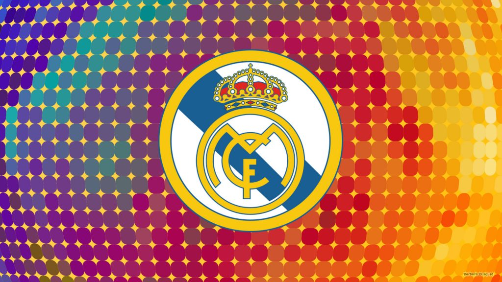Colorful Real Madrid logo wallpaper