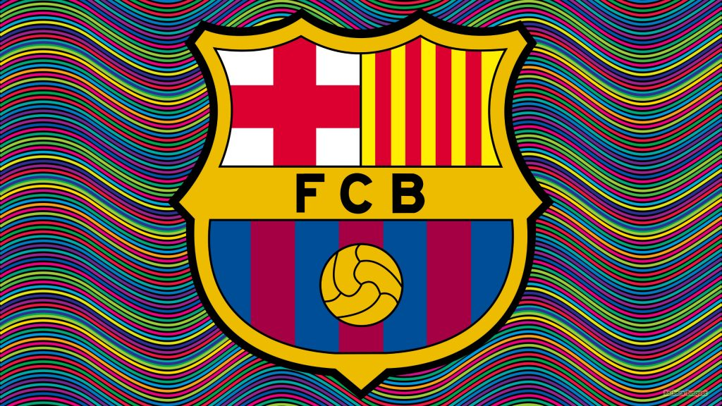 FC Barcelona wallpaper with colofull lines.