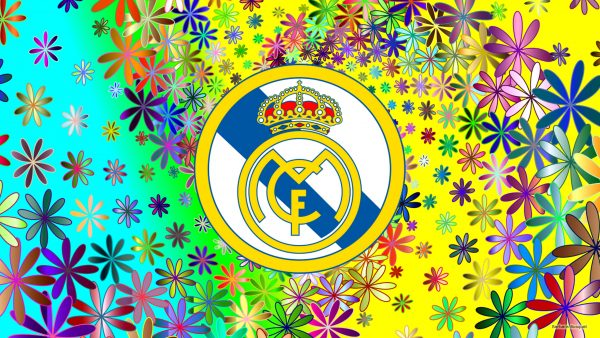 Real Madrid logo wallpaper with flowers.