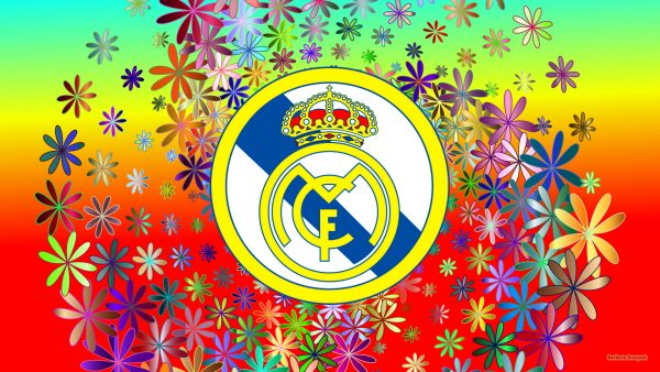 Real Madrid wallpaper with flowers.