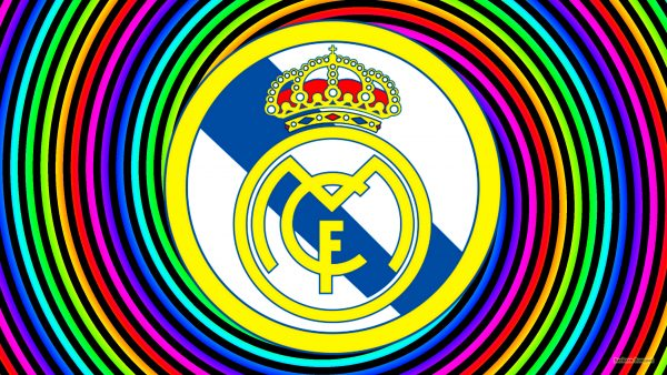 Real Madrid wallpaper with spirals in rainbow colors.