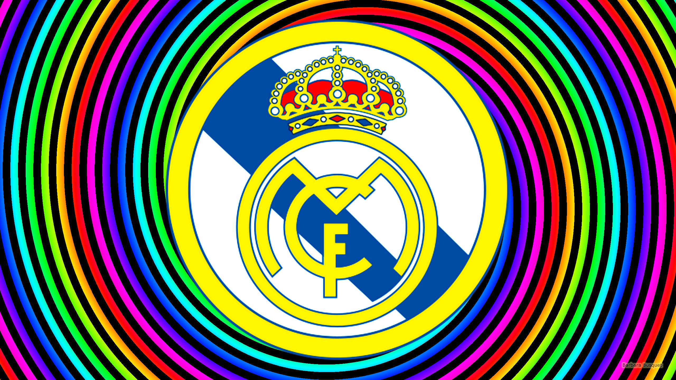 Real Madrid Wallpaper With Spirals In Rainbow Colors
