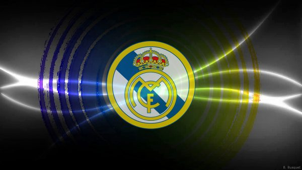 silver Real Madrid FC wallpaper with blue and yellow colors