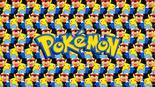 Tiles wallpaper with Ash and Pikachu