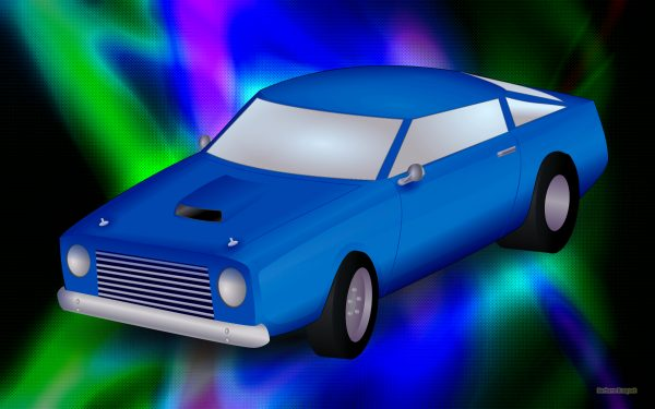 Blue car on a dark abstract background.