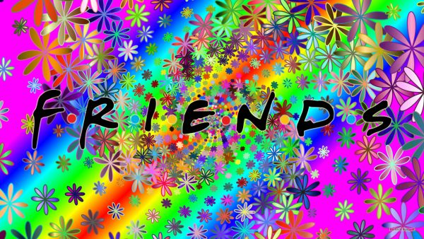 Colorful Friends logo wallpaper with flowers.