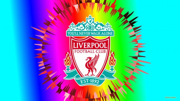 Colorfull Liverpool football wallpaper with logo