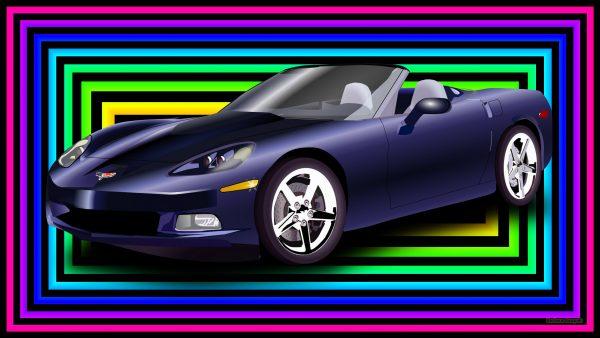 HD wallpaper blue corvette and squares