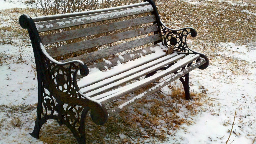 HD wallpaper iron bench with snow